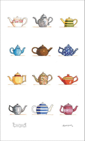 Linen Tea Towel - Teapots
