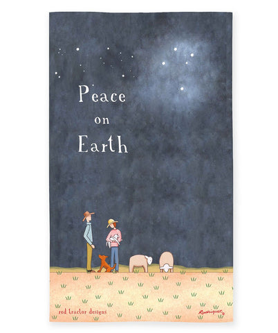 Linen Tea Towel - Peace on Earth