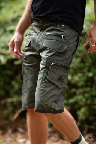 Cargo Pocket Shorts (Dark Olive) - Festival Outdoor Clothing Men Loose Shorts Goa Stylish