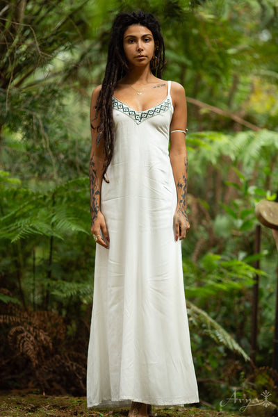 Traditional Cotton Dress (White) - Engagement Boho Handmade Open Back Wedding Dress