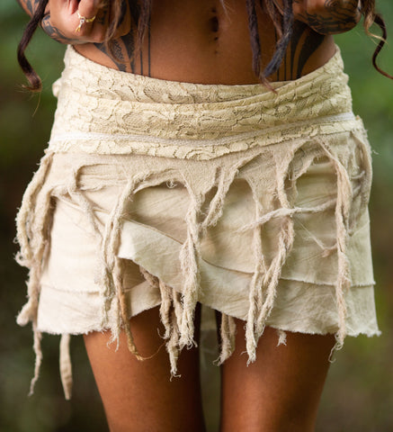 Mini Tarzan Skirt (Cream) - Tribal Crochet Boho Wrap Around Gypsy Skirt Fairy Festival