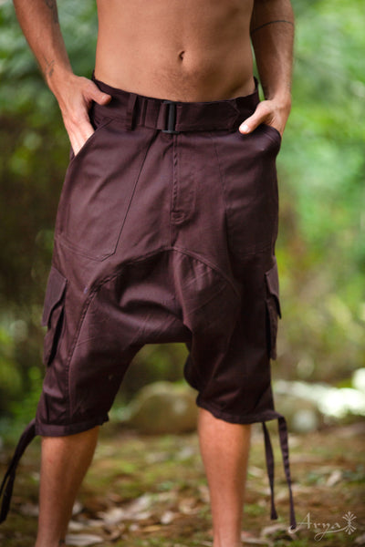 Afghani Shorts (Maroon Brown) - Pants Goa Thick Fabric Stylish Psytrance Party