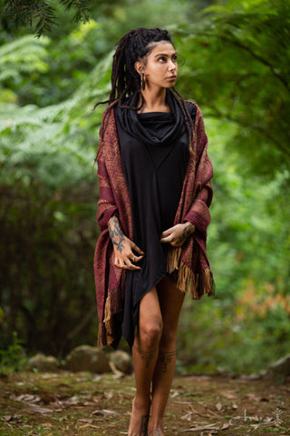 Bamboo Poncho Tunic (Black) - Bamboo Fabric Hood Tribal Tunic Comfy Festival Gypsy