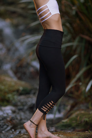 Acro Leggings (Black) - 3/4 Length Leggings Yoga Pants High Fold Over Waistband