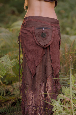 Primitive Pocket Belt Skirt (Brown)- Festival Clothing Bohemian Festival Gypsy Pixie Goa
