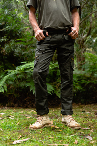 Cargo Pocket Trousers (Dark Olive) - Festival Outdoor Clothing Men Loose Shorts Goa Stylish