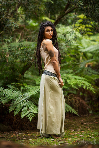 Earthy Embroided Layer Skirt - Festival Clothing Bohemian Festival Gypsy Pixie Goa Tattered
