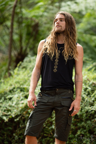 Chakra Hatha Singlet (Black) - Yoga Cut Indie Boho Gypsy Bohemian Men Women