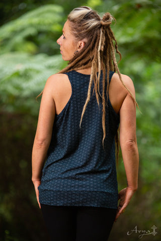 Flower of Life Tank Top (Blue) - Festival Clothing Racer Back Singlet Boho Yoga Tank Sacred