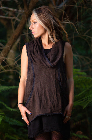 Earthy Hoodie Tank Top (Purpley/Brown) - Festival Clothing Yoga Cut Indie Boho Gypsy