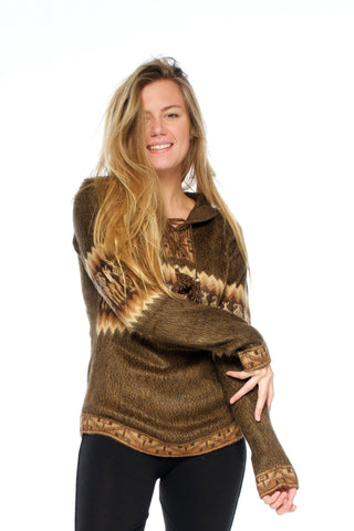 Alpaca Jumper (Earthly Brown) - Festival Clothing Jacket Boho Gypsy Hippie Bohemian