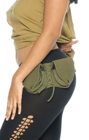 Canvas Vegan Leaf 4 Pockets Belt (Green) - Festival Clothing Fanny Pack Bohemian Boho