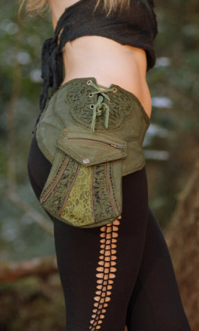 Zenith Pocket Belt (Green) - Handmade Cotton and Lace Festival Gypsy Hippie Fairy