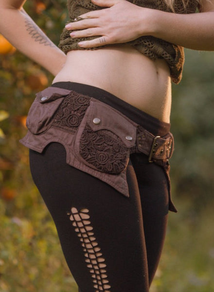 Sentient Pocket Belt (Brown) - Handmade Cotton and Crochet Festival Gypsy Hippie