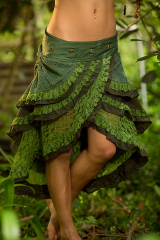 Gypsy Wrap Skirt (Green) - Boho Tribal Fairy Festival Layer Crochet Wrap Around Skirt