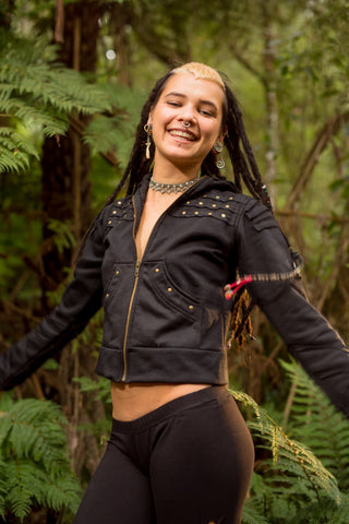 Pantha Sweater (Black) - Gypsy Hoodie Festival Steampunk Sweater Black Punk Jacket