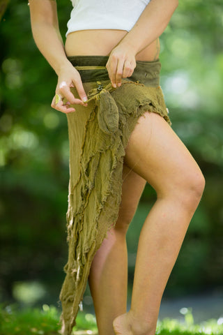 Bedouin Skirt (Khaki) - Bohemian Festival Gypsy Pixie Goa Tattered Layer Skirt Boho