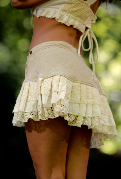 Lily Layer Skirt (Creamy White) - Handmade Gypsy Festival Fairy Elf Mini Midi Layered