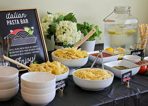 a picture of an Italian pasta bar style food station at a wedding by Tasty Table Wedding Catering in Philadelphia