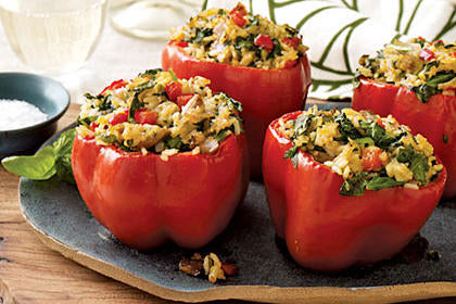 Meatless Stuffed Red Peppers