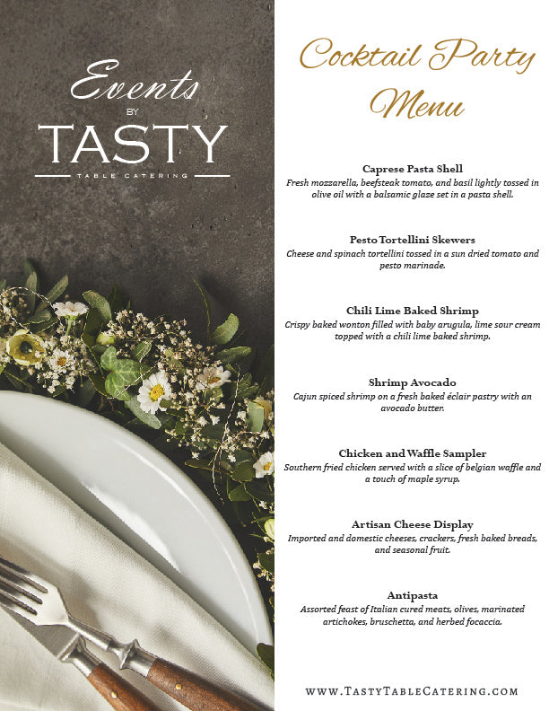 Tasty Table Catering A La Carte Menu