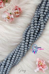 Grey Colour 8mm Faceted Opaque Beads 8mm -Approx 35 Pcs - Utopian Craftsmen
