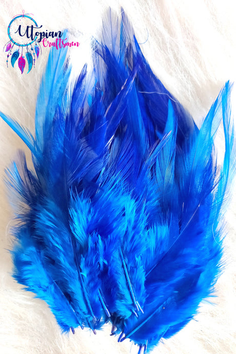 100 pcs Blue Colour Long Pointed Chicken Feathers - Utopian Craftsmen
