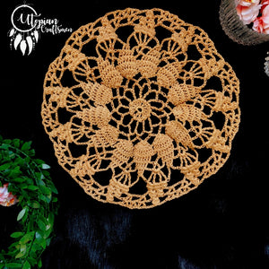 Handmade 8 Inches Nude Colour Crochet Doilies Mercerised Cotton