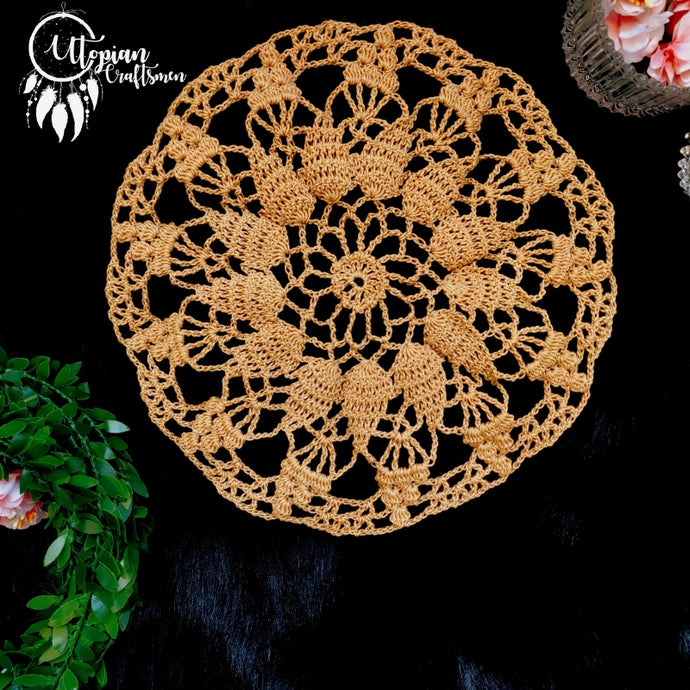 Handmade 8 inches Nude Colour Crochet Doilies - Mercerised Cotton - Utopian Craftsmen