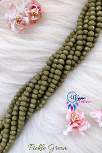Pine Green Colour 8mm Faceted Opaque Beads 8mm -Approx 35 Pcs - Utopian Craftsmen