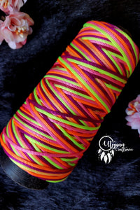 Neon Multicolour pink Cone Thread for Weaving & Knitting - Approx 125 metres. - Utopian Craftsmen
