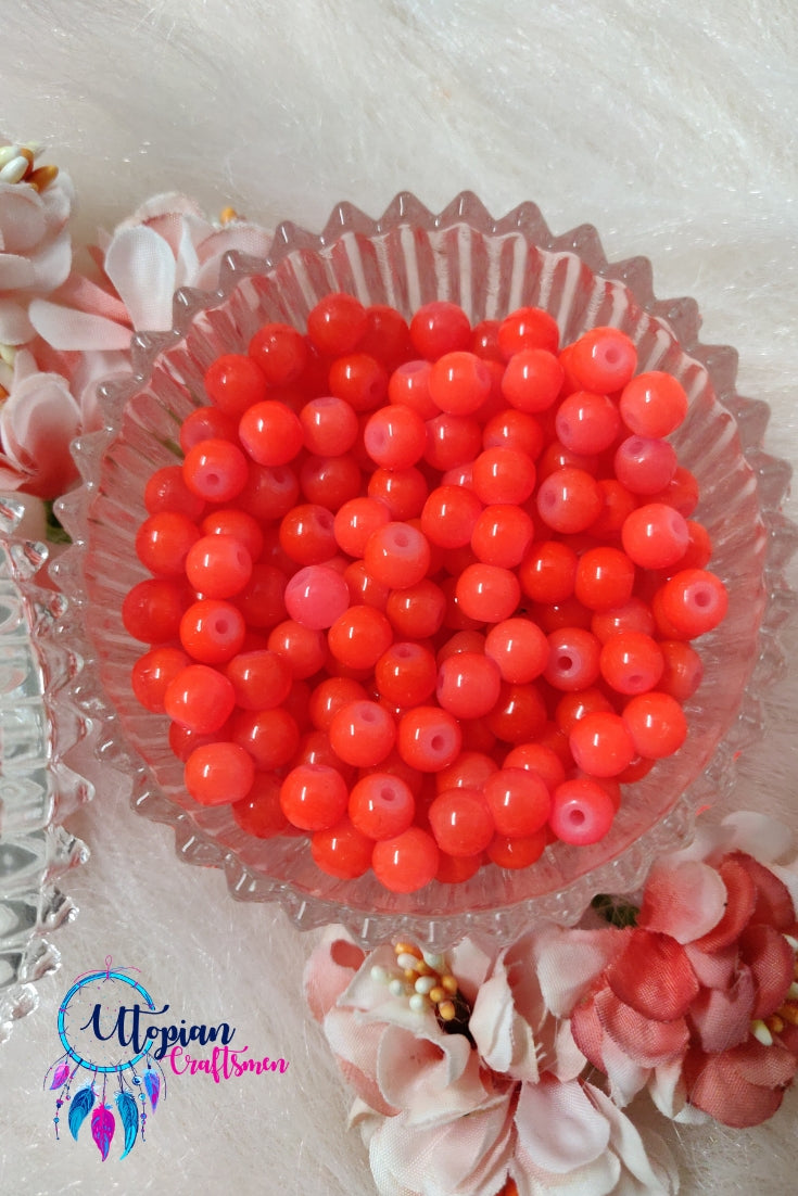 Round Shaded Neon Orange Colour Glass Beads 6mm - Approx 60 Pcs - Utopian Craftsmen
