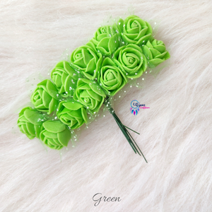 Green Colour Mini Artificial Foam Flowers - Pack of 12 (DIYCrafts) - Utopian Craftsmen