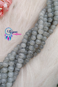 Shaded Grey colour 8mm Glass Beads