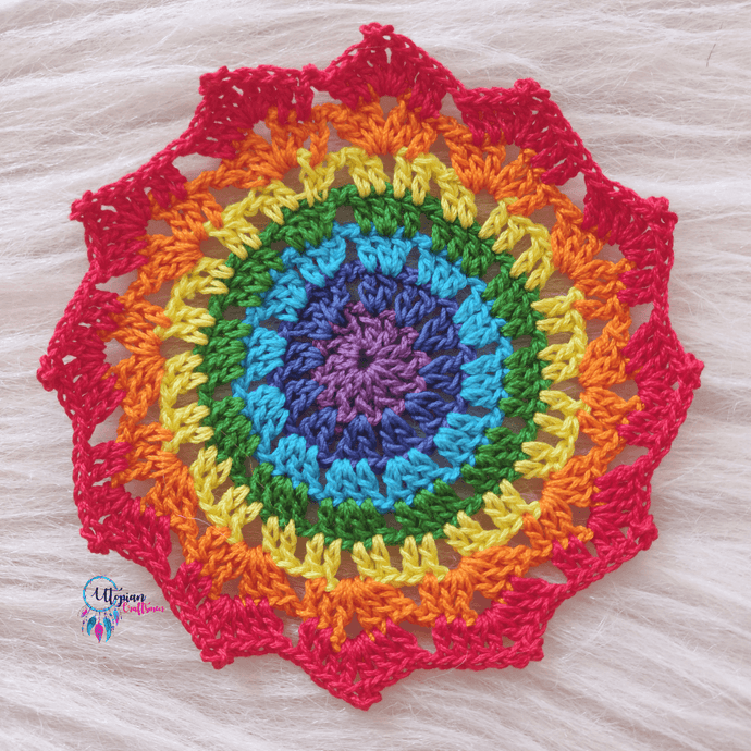 Handmade Multicolour 5 inches mercerised cotton crochet doilies