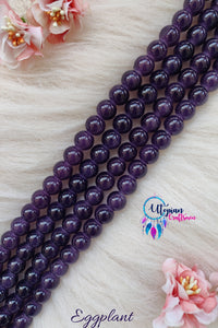 Eggplant/ Grape Colour Round Shaded Blue Colour Glass Beads 10mm - Approx 40 Pcs - Utopian Craftsmen