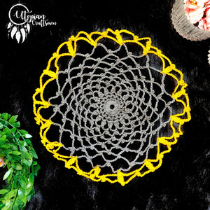 Handmade 8 inches Yellow & Grey Colour Crochet Doilies - Mercerised Cotton - Utopian Craftsmen