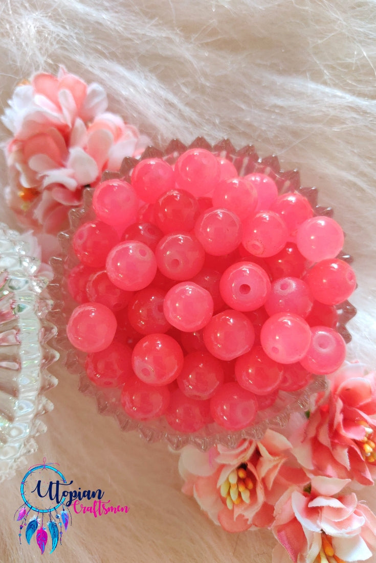 Round Shaded Rose Pink Colour Glass Beads 10mm - Approx 35 Pcs - Utopian Craftsmen