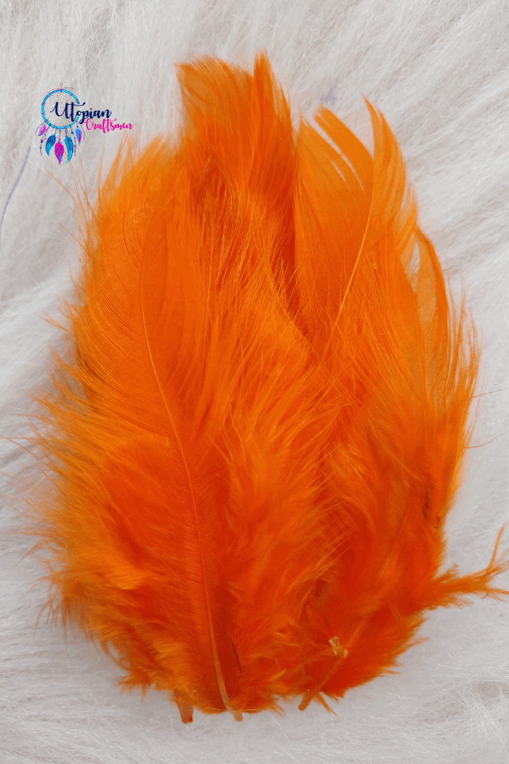 100 pcs Orange Colour Chicken Feathers by Utopian Craftsmen - Utopian Craftsmen