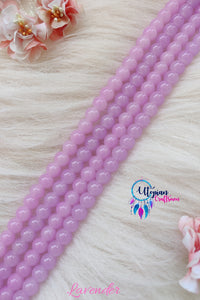 Light Pink/Lavender Colour Round Blue Colour Glass Beads 8mm - Approx 50 Pcs - Utopian Craftsmen