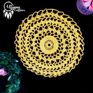 Handmade 8 inches Lime Yellow Colour Crochet Doilies - Mercerised Cotton - Utopian Craftsmen
