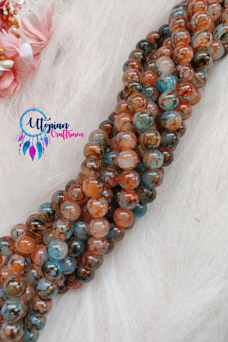 Shaded MultiColour 8mm Glass Beads