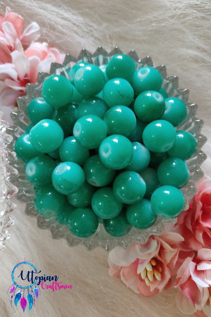 Round Shaded Light Green Colour Glass Beads 10mm - Approx 35 Pcs - Utopian Craftsmen