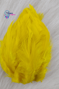 100 pcs Yellow Colour Chicken Feathers by Utopian Craftsmen - Utopian Craftsmen