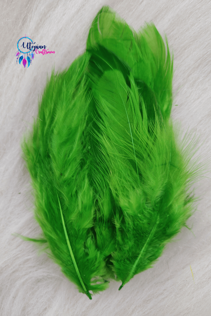 100 pcs Dark Fluorescent green Colour Chicken Feathers by Utopian Craftsmen - Utopian Craftsmen