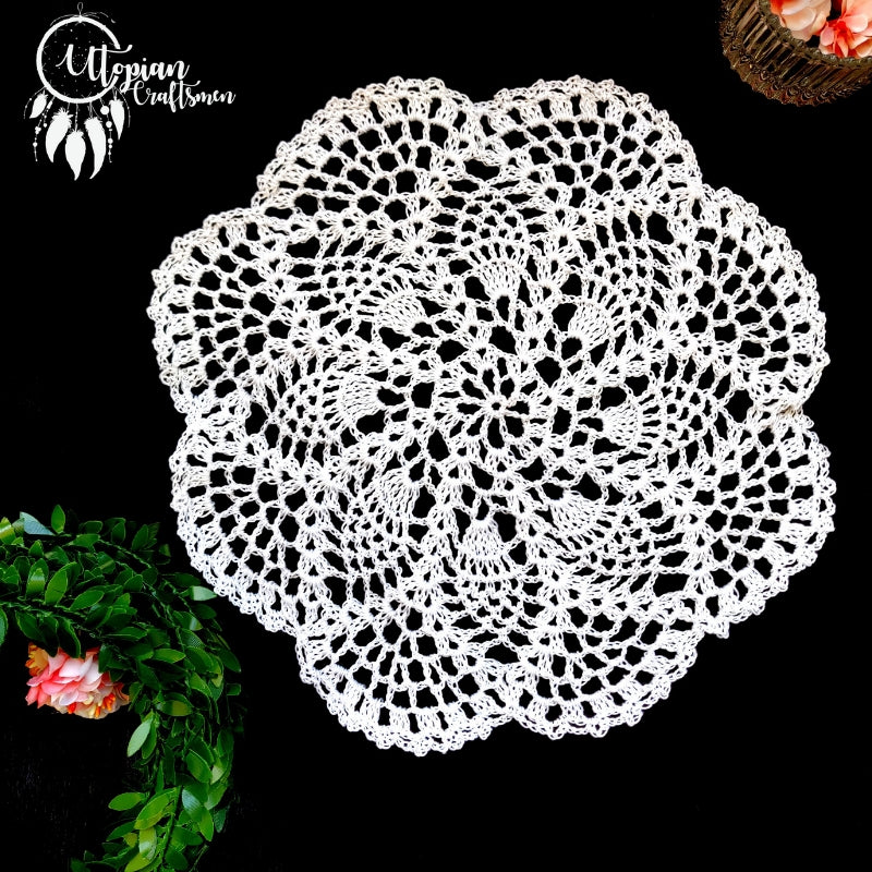 Handmade 10 inches White Colour Crochet Doilies - Mercerised Cotton - Utopian Craftsmen