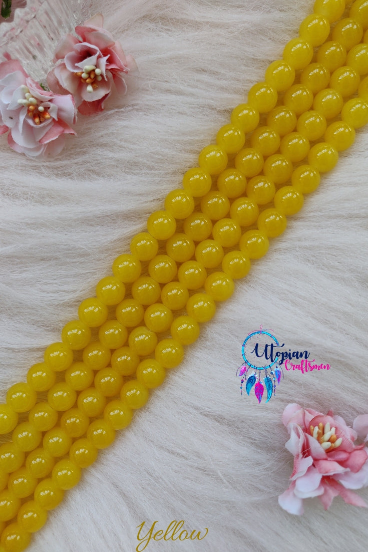 Yellow Colour Round Shaded Blue Colour Glass Beads 10mm - Approx 40 Pcs - Utopian Craftsmen