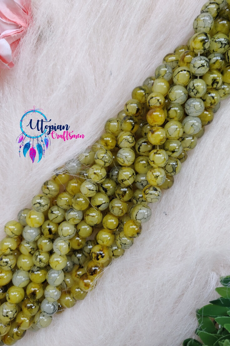 Shaded Green colour 8mm Glass Beads
