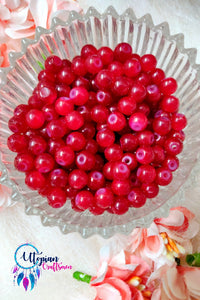 Round Shaded Cherry Red Colour Glass Beads 6mm - Approx 60 Pcs - Utopian Craftsmen