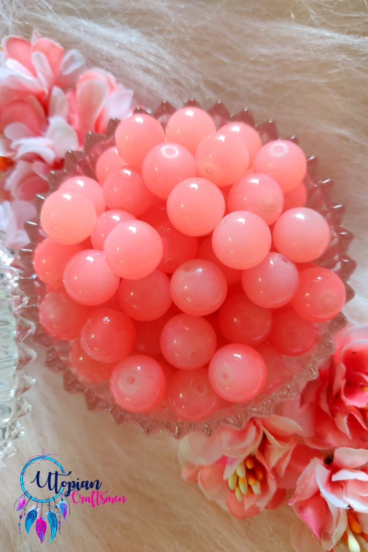 Round Shaded Peach Colour Glass Beads 10mm - Approx 35 Pcs - Utopian Craftsmen